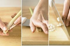 Here's how to prepare the pale section of lemon grass for recipes such as laksa and larb. Lemongrass Recipes, Lemongrass Tea, Lemon Recipes, Thai Recipes, Asian Recipes, Sweet Recipes, Food Dishes, Main Dishes, Side Dishes