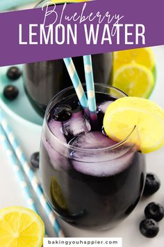 Blueberry Infused Lemon Water, a refreshing and thirst quenching experience with crisp, cool infused water! Infuse water with any frozen fruit!