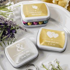 Find Personalized metallics collection Mint tins from fashioncraft with quantity discounts here, along with other wedding favors and shower gifts.