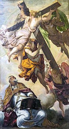 La visione della Croce a S. Pietro (1550 - 1553) lato sinistro dell'abside, Jacopo Tintoretto (1518-1594), dim. 240 x 420. Chiesa Madonna dell'orto, Venezia