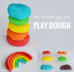 How to make your own play dough - the best part is it's cheap, it's really easy, there are no chemicals in it, and you can make any colours that you want!