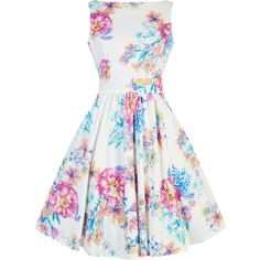 Summer Pastel Floral Tea Dress ($66) ❤ liked on Polyvore featuring dresses, white skater skirt, white floral dress, skater skirts, tea party dresses and vintage floral dress
