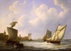 Riviergezicht met schepen voor Dordrecht   A. Schouman. De zeeschilder Schouman geeft zijn woonplaats vanuit het Noorden weer, vanaf de oever van Papendrecht. Dit standpunt was ook bij zijn 17de-eeuwse voorgangers Cuyp en Van Calraet populair. De Groothoofdspoort en de Grote Kerk zijn te herkennen tussen de zeilboten. Rechts vaart het buurtschip de Zwaan, dat op Rotterdam voer. De vader van Schouman was beurtschipper.