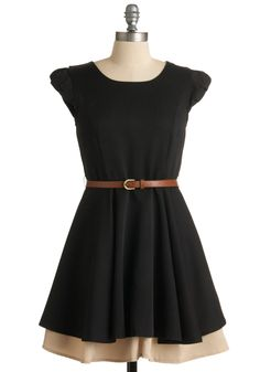 Work Wonders Dress - Black, Tan / Cream, Tiered, A-line, Cap Sleeves, Solid, Work, Casual, Mid-length, Steampunk, Belted, Fit & Flare