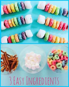 Rainbow Snack Sticks made with mini pretzel sticks, fruit loops, and mini marshamallows. A fun snack craft for kids to make! #snacks #preschool #craft #craftsforkids #fruitloops #recipe