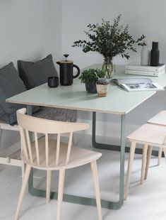 My Muuto table - modern Scandinavian design dining table - cate st hill, soft green dining table - Muuto table in green - modern Scandinavian design dining table - plants in the home. Scandinavian Dining Table, Scandinavian Furniture, Scandinavian Design, Scandinavian Bedroom, Wicker Dining Chairs, Dining Room Design, Dining Area, Living Room Furniture, Furniture Nyc