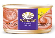 Wellness Canned Cat Food, Chicken. Our cats go GAGA for this stuff!