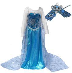[SALE!] Blue Snow Queen Princess Long Cape Dress Costume with Accessories (Ages 5-6)