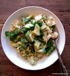 Quinoa salad with lovely green stuff & shrimps from Chrissy Freer's book