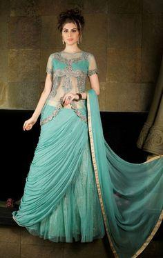Picture of Flamboyant Light Turquoise Designer Lehenga Choli