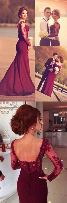 A-Line Sweetheart Long Sleeve Burgundy Prom Dress With Lace Appliques