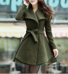 $18.07 Charming Turn-Down Collar Belt Embellished Pelpum Top Long Sleeves Slimming Overcoat For Women