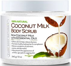 Pure Body Naturals Coconut Milk Body Scrub with Dead Sea Salt, Almond Oil and Vitamin E for All Skin Type, 12 oz *** Tried it! Click the image. : All Natural Skin Care Coconut Oil Body Scrub, Coconut Oil For Face, Coconut Milk, Body Butter, Coconut Bowl, Summer Beauty, Summer Makeup, Photomontage, Best Face Products