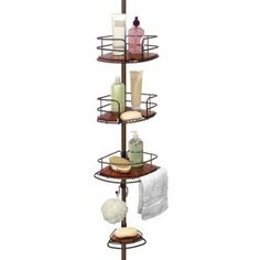 Tension Pole Shower Corner Caddy In Teak/Oil Rubbed Bronze    BedBathandBeyond.com