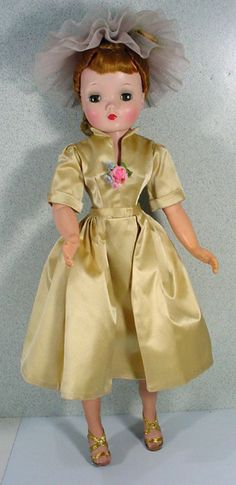 Vintage Madame Alexander Cissy Doll in Tagged Evening Sheath and Hat, 1956