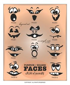 DIGITAL DOWNLOAD ... 12 ready to cut layered vector art faces ... perfect for pumpkins and squash displays ... available as single designs and in a Halloween Collection @ My Vinyl Designer (http://www.myvinyldesigner.com/Products/halloween-collection-p5.aspx)