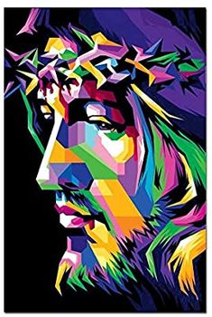 Jesus Christ Pop Art Painting Contemporary Christian Artwork Designs Multi Color Wall Art for Modern Decor Ready to Hang(One Panel Images Du Christ, Tableau Pop Art, Christian Posters, Christian Artwork, Jesus Painting, Pop Art Portraits, Scripture Wall Art, Jesus Art, Jesus Pictures