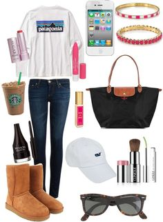 Untitled #159 by cseelhorst featuring sheepskin shoes ❤ liked on PolyvoreAG Adriano Goldschmied skinny fit jeans, $140 / UGG Australia sheepskin shoes, $255 / Longchamp  tote bag / Lilly Pulitzer  jewelry / Kate Spade  bangle / J.Crew j crew / Vineyard Vines  hat / Mens Long-Sleeved Patagonia P-label T-shirt / Clinique  blush, $34 / Revlon  eyeliner / Clinique  mascara, $25 / Juicy Couture  fragrance / Fresh  lip treatment / Revlon beauty product