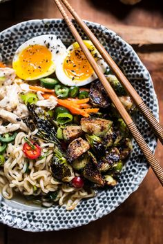 Minute Chicken Ramen with Miso Roasted Brussels Sprouts + Ginger Butter