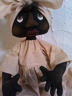 Primitive black Folk Art Doll for sale on Ebay. primitivewishfuls