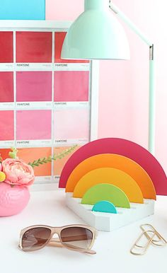 DIY Rainbow Desk Organizer