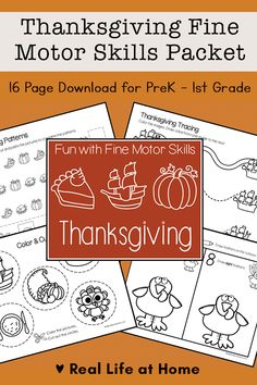 This post includes a 16 page Thanksgiving Fine Motor Skills Packet for preschool, kindergarten, and 1st grade with activities that include tracing, cutting, coloring, and more. Thanksgiving Note, Thanksgiving Activities For Kids, Printable Activities For Kids, Toddler Learning Activities, Hands On Activities, Kindergarten Activities, Motor Activities, Thanksgiving Crafts, Free Printables