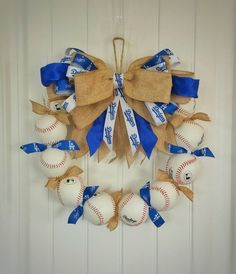 LA Dodger Inspired Baseball Wreath - Check out this item in my Etsy shop https://www.etsy.com/listing/287804627/la-dodgers-inspired-baseball-wreath-get