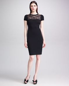 Lace-Yoke+Short-Sleeve+Sheath+Dress,+Black+by+RED+Valentino+at+Neiman+Marcus.