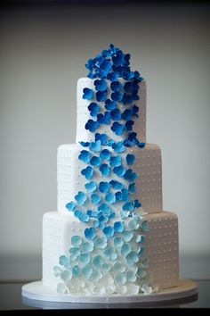 White Wedding Cake with Blue Ombre Flower Waterfall.