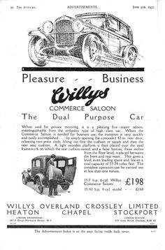 Willys Commerce Saloon Motor Car Autocar Advert 1931