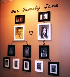 This is my version of a family tree.  The scrolls connecting family members were made with the Cricut machine.