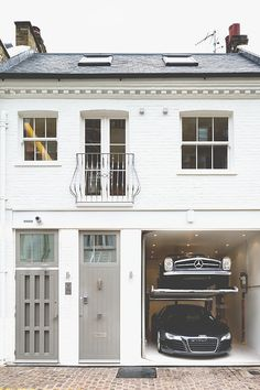 Double garage on London Mews house! Houses Architecture, Interior Architecture, Residential Architecture, Exterior Design, Interior And Exterior, Garage Design, Luxury Interior, Mews House, Cool Garages