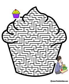 Kids love doing this cupcake maze. Babysitting Kit, Maze Book, Maze Worksheet, Children's Church Crafts, Mazes For Kids, Maze Puzzles, Hidden Pictures, Free Pictures, Maze Game