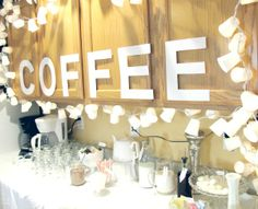 Cute coffee bar idea for a wedding or bridal shower. Love the lettering. Need to get my lights fixed. Coffee Bar Wedding, Winter Shower, Coffee Bar Signs, Coffee Theme, Bridal Luncheon, Cute Wedding Ideas, Party Entertainment, Wedding Desserts, Love Is Sweet