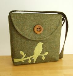 One of a Kind Harris Tweed Offbeat Messenger with a Bird on a Branch Applique
