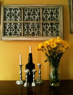 repurposed window frame with damask pattern. They want $840.00 for this! ??????? I can DIY, thanks though.