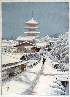 hanga gallery . . . torii gallery: Snowy Village by Ito Yuhan