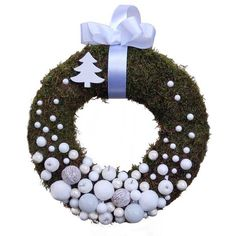 Fehér gömbös karácsonyi kopogtató - Szárazvirág díszek webáruháza