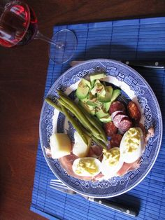 Devillish eggs Smoked Hungarian sausage (csabai) Homemade pickled string beans Prosciutto Cheese One avocado (drizzled with oil and lemon juice, and sprinkled with chili flakes) Prosciutto, Sausage, Avocado, Tacos, Beans, Homemade, Ethnic Recipes, Food, Lawyer