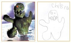 "Dave Devries takes sketches of monsters drawn by children purely from their imagination and renders them realistically giving them a truly devilish look. His collection of drawings and paintings form a 48-page book ""The Monster Engine""."