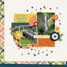 On the Road to Hana Scrapbook Page Layouts, Scrapbooking Ideas, Scrapbook Pages, Digital Scrapbooking, Road To Hana, Travel Scrapbook, Hawaii, Summer, Summer Time