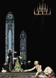 """Kay Nielsen, in East of the Sun and West of the Moon, 1914. Illustration from The Giant who had no Heart in his Body: """"On that island stands a church; in that church is a well; in that well swims a duck."""""""