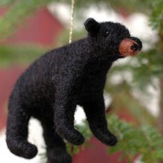 black bear cub needle felted christmas ornament