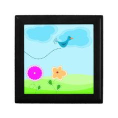 Cute bird and flower cartoon keepsake box