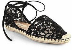Valentino Heavy Lace Tie-Up Espadrille Flats on shopstyle.com