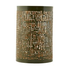 Brass + army green candle lamp - large: This candle lamp has a grid cut-out pattern to project beautiful patterns of light, and is finished in army green with brass inside.  Style on your dining table for an eye-catching centrepiece, or around your home to create a cosy atmosphere.  Shown here alongside the larger size candle lamp, chestnut brown glazed planter and jade striped mini planter or cup.