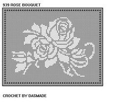 939 Rose Bouquet Filet Crochet Doily Runner Tablemat Pattern
