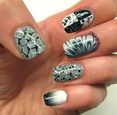 Fabulous grayscale Nails by Flight of Whimsy -- each finger has a different design!