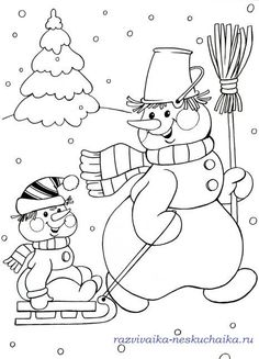 SNOWMAN PULLING BABY SNOWMAN Coloring Pages Winter, Free Coloring Pages, Coloring Books, Christmas Coloring Sheets, Coloring Sheets For Kids, Christmas Doodles, Christmas Drawing, Christmas Colors, Christmas Crafts