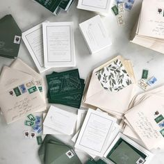 "darling + pearl on Instagram: "" greens for days. #darlingandpearl #letterpress #weddingstationery #weddinginspiration #dailydoseofpaper #vintagestamps #vintagepostage…"""